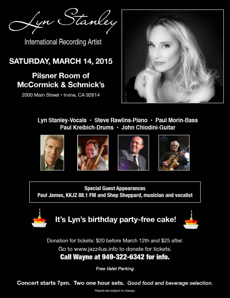 March 14: Lyn Stanley Live in Concert at McCormick and Schmick 's in Irvine, CA